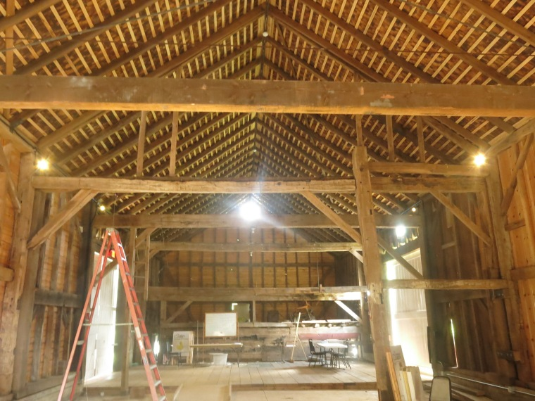 Barn interior with lights