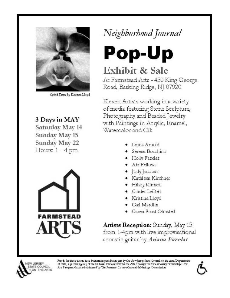 Flyer for Neighborhood Journal Pop-Up Exhibit and Sale May 14,14 & 22