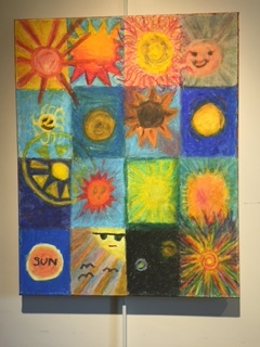 A Craypas montage of suns created by young artists at Charter Day 2015