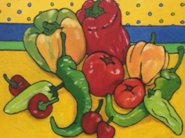 Gail Mardfin Peppers Original, signed and framed