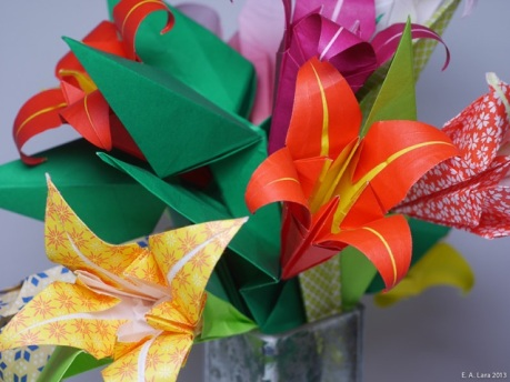 Close up of origami bouquet